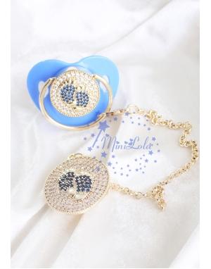 Gold mavi zirkon taşlı ayak figürlü emzik zincir seti