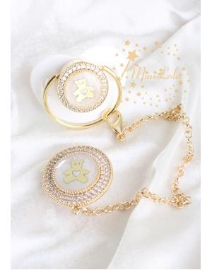 Gold zirkon taşlı ekru renk ayıcık figürlü emzik zincir seti