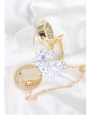 Gold zirkon taşlı lacivert taç figürlü şeffaf emzik zincir seti