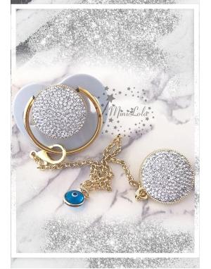 Gümüş zirkon taşlı gold detaylı gri emzik zincir seti