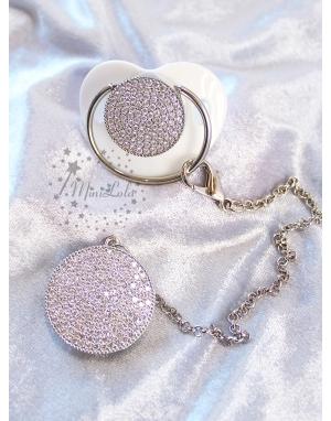 Gümüş zirkon taşlı gold detaylı beyaz emzik zincir seti