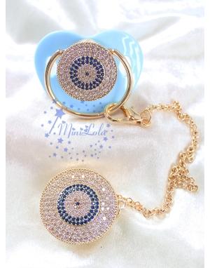 Mavi zirkon taşlı nazar boncuk desenli emzik zincir seti