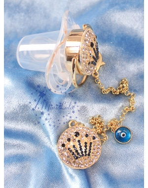 Gold zirkon taşlı lacivert taç şekilli şeffaf emzik zincir seti