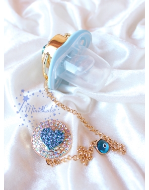Gold mavi zirkon taşlı kalp figürlü emzik zincir seti