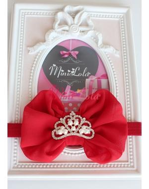 Kırmızı fiyonklu inci prenses taşlı saç bandı
