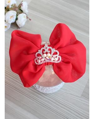 Kırmızı fiyonklu gümüş inci prenses taşlı taç