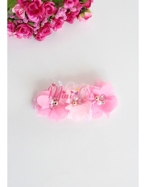 Pembe gülkurusu çiçekli incili taşlı saç bandı