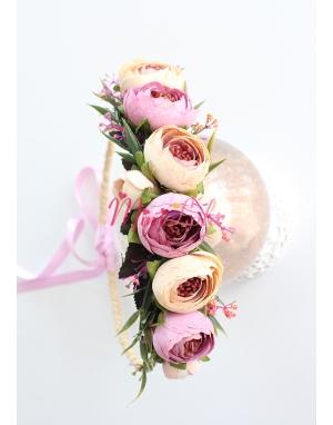 Lila krem renkli küçük erengül çiçekli yapraklı tamtur taç