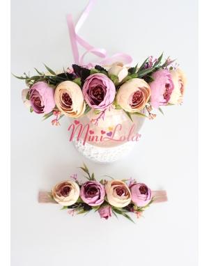 Lila krem renkli küçük erengül çiçekli yapraklı anne kız takımı