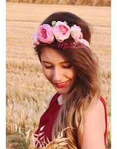 Mor pembe şakayık güllü çiçek tomurcuk süslü saç bandı