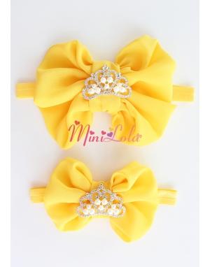 Sarı fiyonklu inci prenses taşlı anne kız takımı