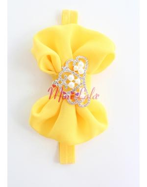 Sarı fiyonklu inci prenses taşlı saç bandı