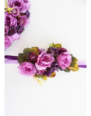 Lila renk güllü mor mini çiçekli süslü saç bandı