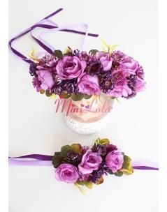 Lila renk güllü mor mini çiçekli süslü anne kız takımı