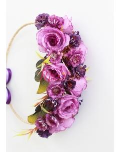 Lila renk güllü mor mini çiçekli süslü tamtur taç