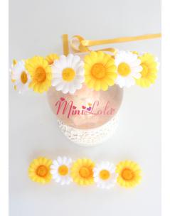 Sarı beyaz papatya çiçekli anne kız takımı