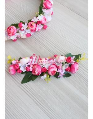 Mini tatlı pembe erengül çiçekli ortancalı saç bandı