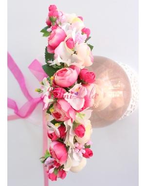 Mini tatlı pembe erengül çiçekli ortancalı tamtur taç