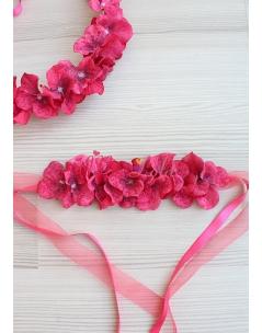 Bordo pembe tatlı ortanca çiçekli bağlamalı saç bandı