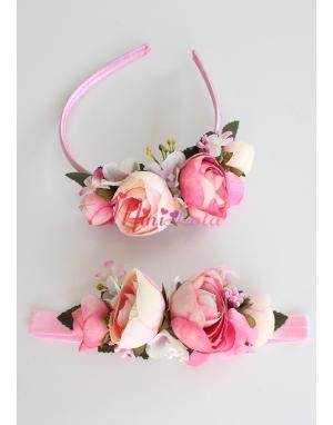 Krem pembe erengül çiçekli tomurcuk süslemeli anne kız takımı