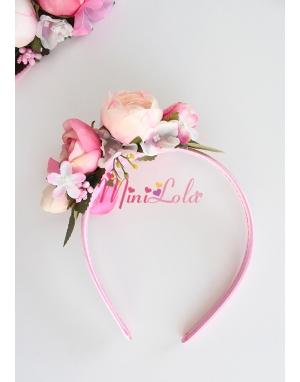 Krem pembe erengül çiçekli tomurcuk süslemeli taç
