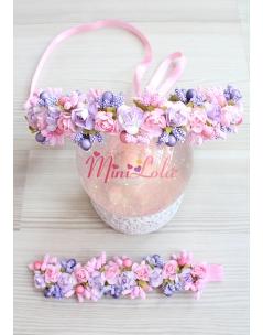 Pembe mor lila güllü tomurcuklu anne kız takımı