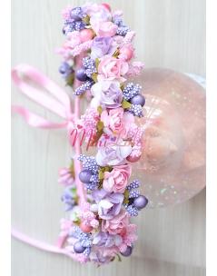 Pembe mor lila güllü tomurcuklu tamtur taç