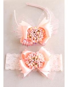 Somon renk fiyonklu tomurcuk çiçek süslü puantiye tüllü anne kız takımı