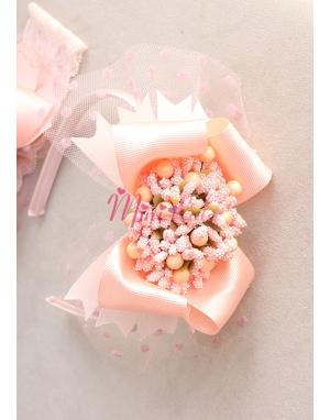 Somon renk fiyonklu tomurcuk çiçek süslü puantiye tüllü taç