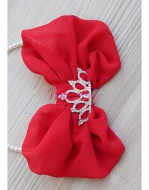 Kırmızı fiyonklu gümüş prenses taşlı taç
