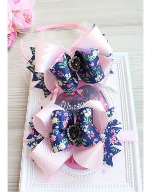 Lacivert çiçek desenli pembe fiyonklu puantiye tüllü siyah taşlı anne kız takımı