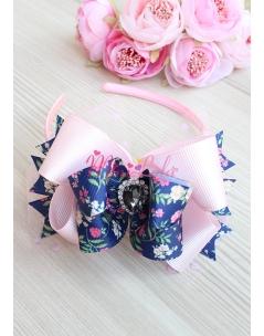 Lacivert çiçek desenli pembe fiyonklu puantiye tüllü siyah taşlı taç