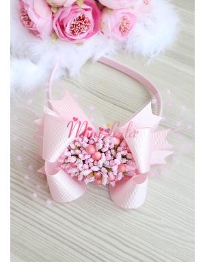 Pudra pembe renk fiyonklu tomurcuk çiçek süslü puantiye tüllü taç