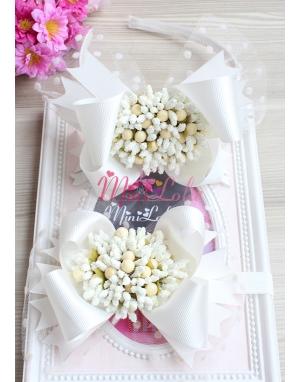 Krem renk fiyonklu tomurcuk çiçek süslü puantiye tüllü anne kız takımı