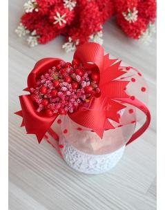 Kırmızı renk fiyonklu tomurcuk çiçek süslü puantiye tüllü taç