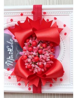Kırmızı renk fiyonklu tomurcuk çiçek süslü puantiye tüllü saç bandı