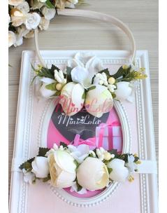 Krem renk erengül çiçekli tomurcuk süslemeli anne kız takımı