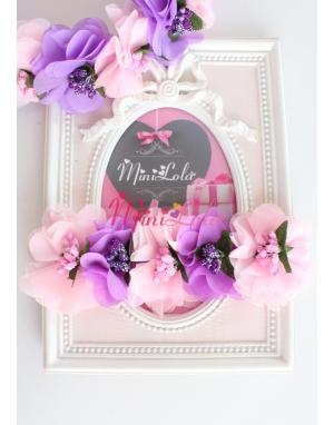 Pembe mor şifon çiçekli simli tomurcuk süslemeli saç bandı