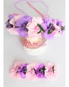 Pembe mor şifon çiçekli simli tomurcuk süslemeli tamtur taçlı anne kız takımı