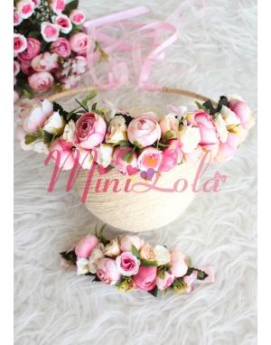 Mini pembe erengül çiçekli güllü tamtur taçlı anne kız takımı
