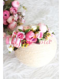 Mini pembe erengül çiçekli güllü saç bandı