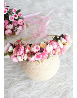 Mini pembe erengül çiçekli güllü tamtur taç