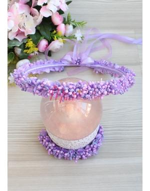 Mor simli tomurcuk çiçekli tamtur taçlı anne kız takımı