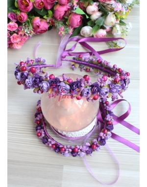 Mor lila renk minik güllü tomurcuk süslü tamtur taçlı anne kız takımı