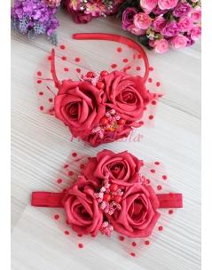 Kırmızı büyük gül çiçekli tomurcuklu tül süslü anne kız takımı