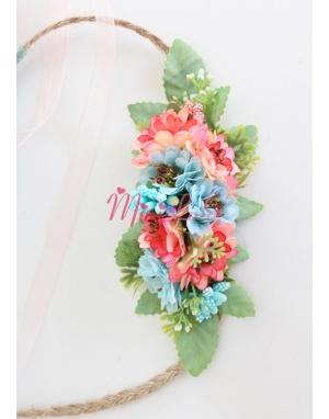 Nar çiçeği turkuaz renkli çiçekli zarif yandan bağlamalı taç