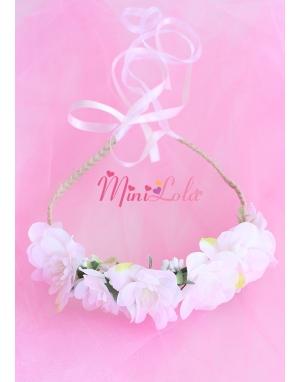 Soft pembe çiçekli örgülü zarif bağlamalı taç