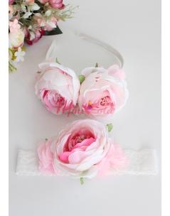 Soft pembe kırık beyaz şakayık çiçekli anne kız takımı