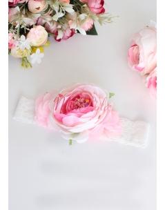 Soft pembe kırık beyaz şakayık çiçekli saç bandı