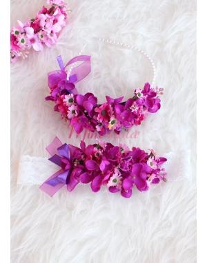 Mor pembe renk mini çiçekli inci detaylı zarif anne kız takımı
